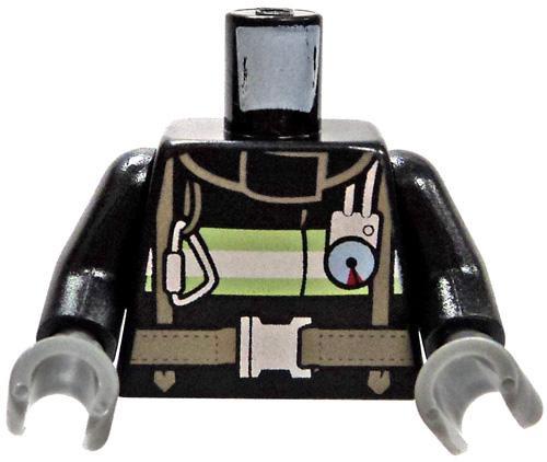 LEGO Black Reflective Stripes, Harness & Buckles Loose Torso [Loose]
