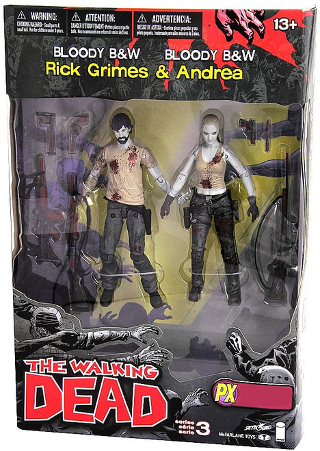 McFarlane Toys The Walking Dead Comic Series 3 Rick Grimes & Andrea Exclusive Action Figure 2-Pack [Bloody Black & White]
