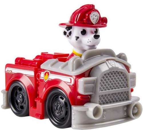 Paw Patrol Rescue Racer Marshall in Fire Truck Figure [Figure Does Not Come Out!]