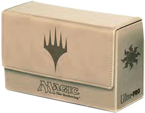 Ultra Pro MtG Trading Card Game Premium Flip White Mana Symbol (Tan Color) Deck Box [Dual]