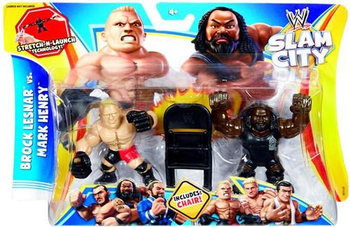 WWE Wrestling Battle Pack Slam City Brock Lesnar vs Mark Henry Action Figure 2-Pack