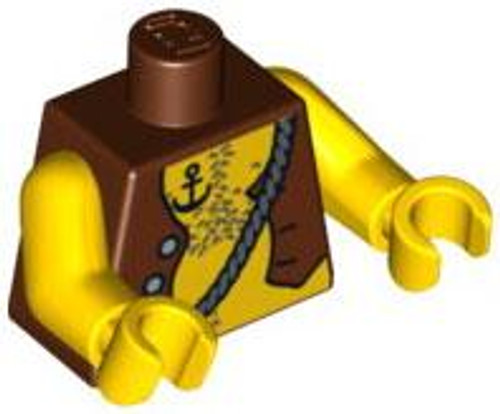 LEGO Brown Vest with Exposed Chest & Anchor Tattoo Loose Torso [Loose]
