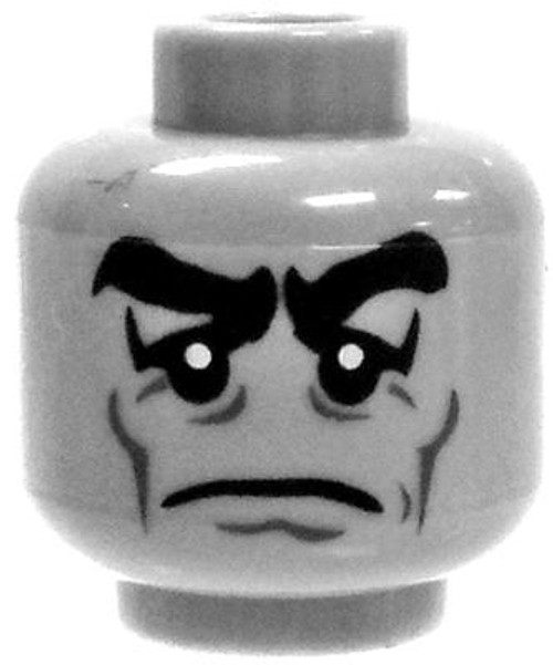 Gray Grumpy Face Minifigure Head [Loose]