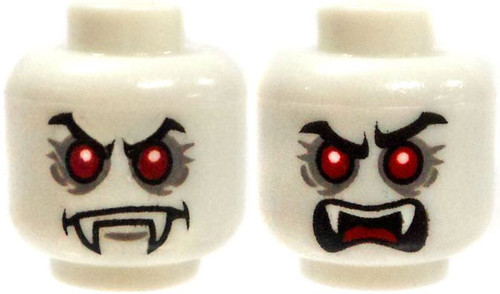 White Male Vampire with Red Eyes Minifigure Head [Dual-Sided Print Loose]