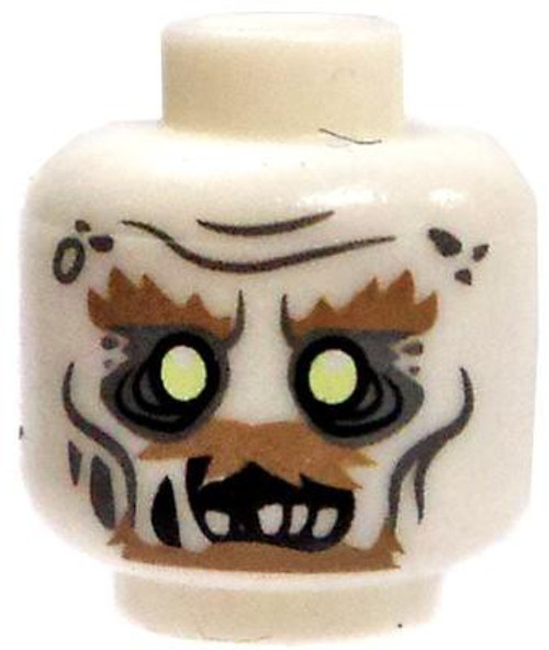 Glow-in-the-Dark Decaying Zombie with Facial Hair Minifigure Head [Loose]