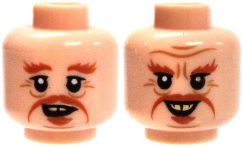 Light Flesh with Orange Moustache and Bushy Eyebrows Head [Dual-Sided Print Loose]