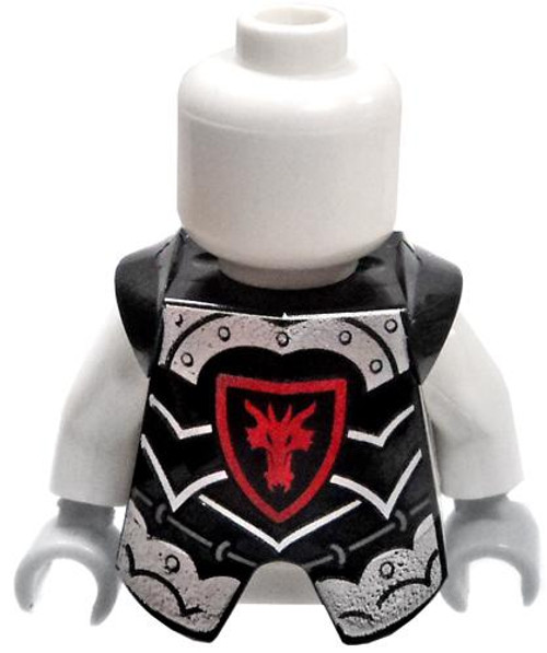 LEGO Castle Armor Black Breastplate with Silver Lining and Red Dragon Logo [Loose]