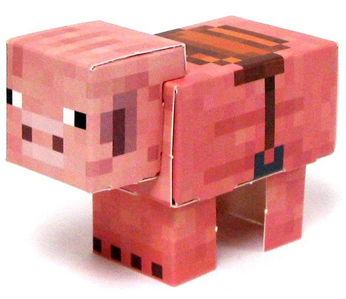 Minecraft Pig with Saddle Papercraft [Single Piece]