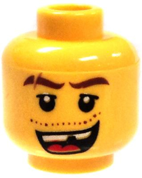 Missing Tooth with Scar and Thick Eyebrows Minifigure Head [Yellow Male Loose]