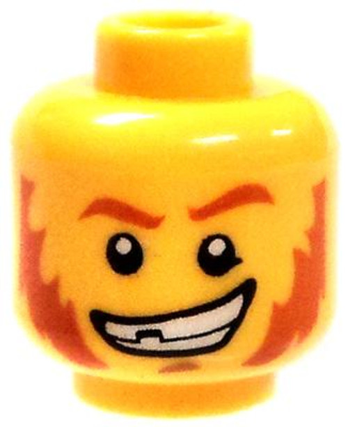 Red Eyebrows and Sideburns with Large Grin Minifigure Head [Yellow Male Loose]