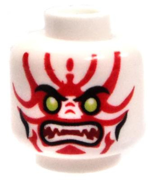 White with Green Eyes and Red Markings Minifigure Head [Loose]