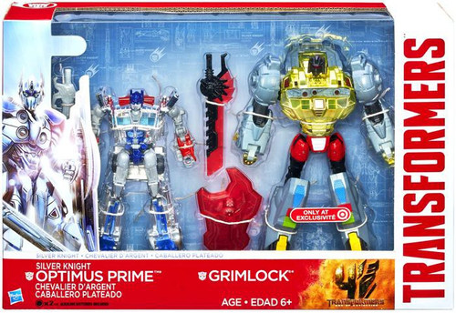 Transformers Age of Extinction Silver Knight Optimus Prime & Grimlock Exclusive Action Figure