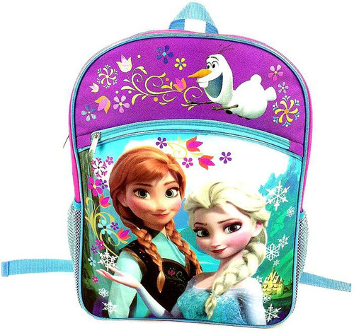 Disney Frozen Anna & Elsa Backpack [Purple & Blue Flowers]
