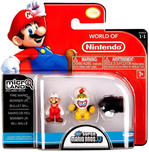 World of Nintendo New Super Mario Bros U Micro Land Series 1 Fire Mario, Bowser Jr. & Bullet Bill Mini Figure 3-Pack