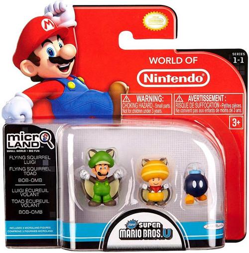 World of Nintendo New Super Mario Bros U Micro Land Series 1 Flying Squirrel Luigi, Flying Squirrel Toad & Bob-Omb Mini Figure 3-Pack