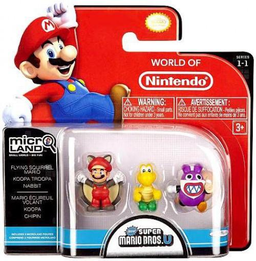 World of Nintendo New Super Mario Bros U Micro Land Series 1 Flying Squirrel Mario, Koopa Troopa & Nabbit Mini Figure 3-Pack