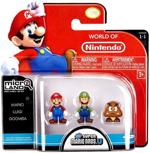 World of Nintendo New Super Mario Bros U Micro Land Series 1 Mario, Luigi & Goomba Mini Figure 3-Pack