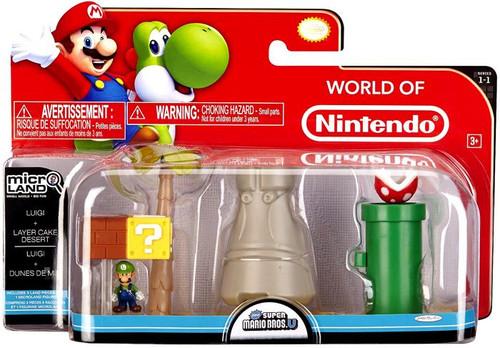 World of Nintendo New Super Mario Bros U Micro Land Playset Luigi & Layer Cake Desert Playset