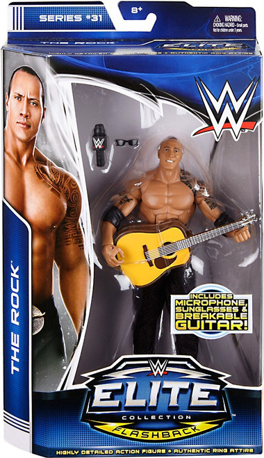 WWE Wrestling Elite Collection Series 31 The Rock Action Figure [Microphone, Sunglasses & Breakable Guitar]