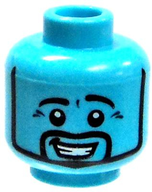 Bright Blue Smiling with Beard Minifigure Head [Loose]