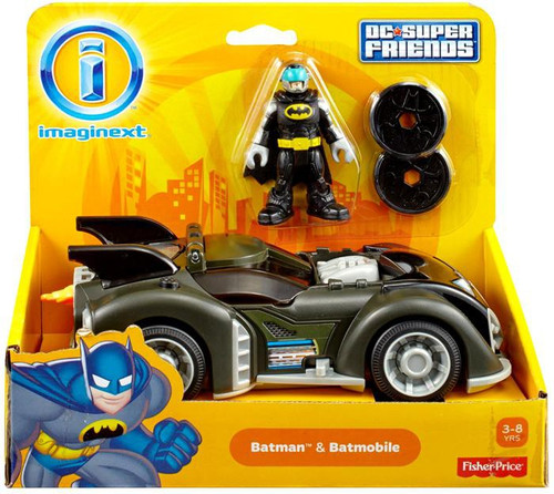 Fisher Price DC Super Friends Imaginext Batman & Batmobile 3-Inch Figure Set [DC Super Friends]