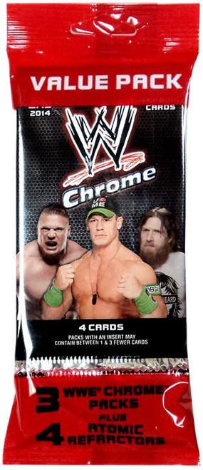 WWE Wrestling Topps 2014 Chrome Trading Card VALUE Pack [3 Packs + 4 Atomic Refractors]