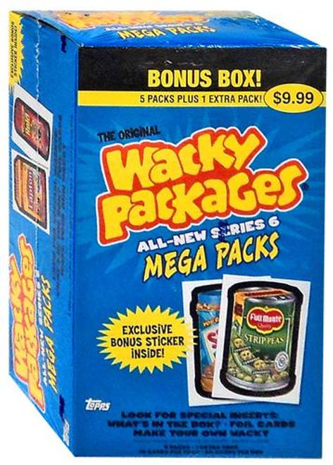 Wacky Packages Topps All-New Series 6 Trading Card Sticker MEGA PACKS BONUS Box [6 Packs]