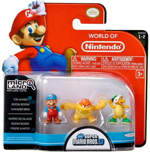 World of Nintendo Super Mario Bros U Micro Land Series 2 Ice Mario, Boom Boom & Hammer Bros 1-Inch Mini Figure 3-Pack