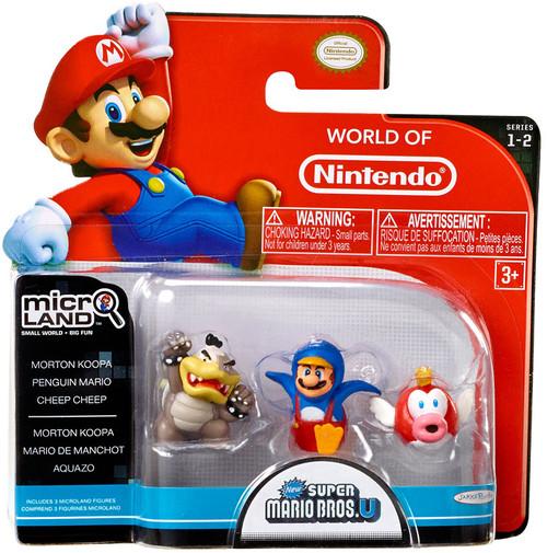 World of Nintendo Super Mario Bros U Micro Land Series 2 Morton Koopa, Penguin Mario & Cheep Cheep 1-Inch Mini Figure 3-Pack