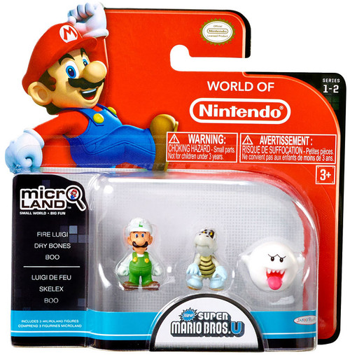 World of Nintendo Super Mario Bros U Micro Land Series 2 Fire Luigi, Dry Bones, Boo 1-Inch Mini Figure 3-Pack