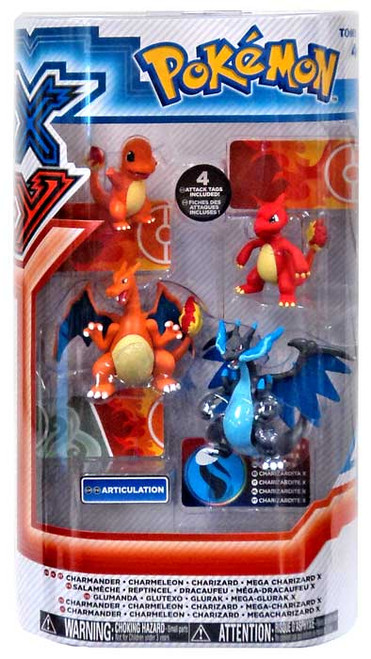 Pokemon XY Charmander, Charmeleon, Charizard & Mega Charizard X Mini Figure 4-Pack