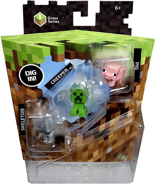 Minecraft Grass Series 1 Pig, Creeper & Skeleton Mini Figure 3-Pack