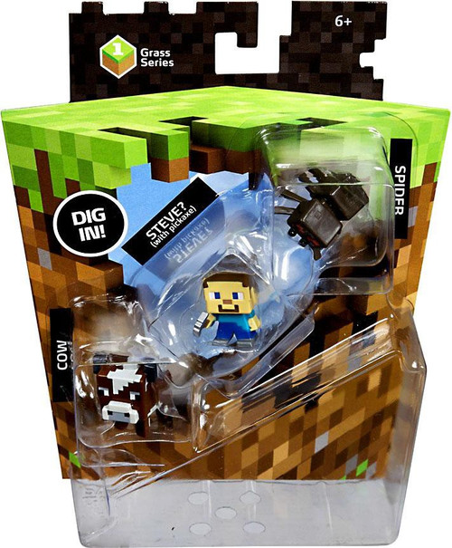 Minecraft Grass Series 1 Spider, Steve & Cow Mini Figure 3-Pack