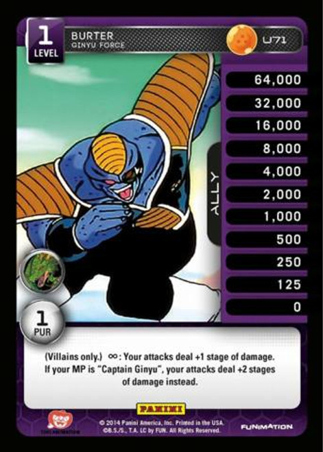 Dragon Ball Z CCG Set 1 Uncommon Burter - Ginyu Force U71