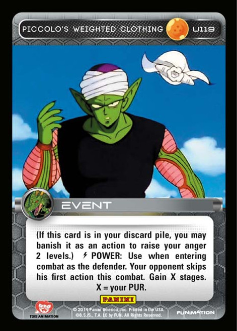 Dragon Ball Z CCG Set 1 Uncommon Piccolo's Weighted Clothing U119