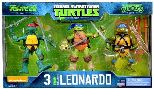 Teenage Mutant Ninja Turtles Nickelodeon Leonardo Evolution Exclusive Action Figure 3-Pack