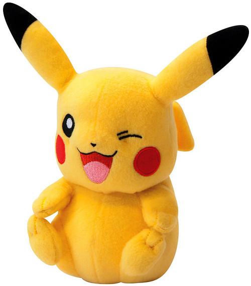 Pokemon TOMY Pikachu 8-Inch Trainer's Choice Plush [Sitting Open Mouth, Winking]