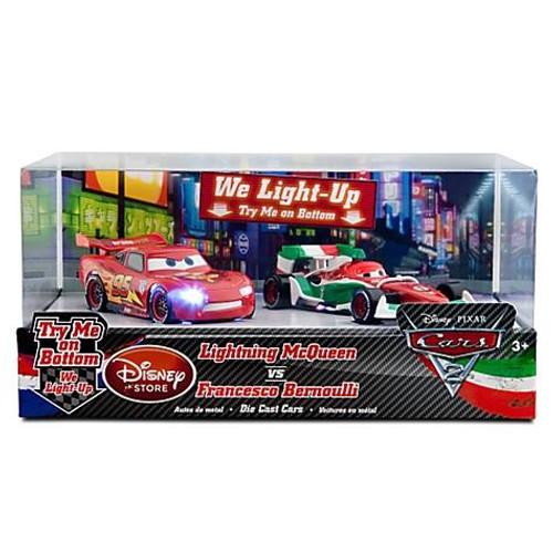 Disney / Pixar Cars Cars 2 Light Up Lightning McQueen vs. Francesco Bernoulli Exclusive Diecast Car Set [Damaged Package]