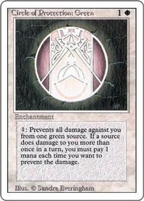 MtG Revised Common Circle of Protection: Green [Slightly Played]
