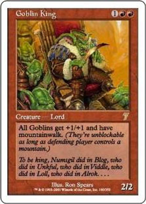 MtG 7th Edition Rare Goblin King #190 [Played Condition]