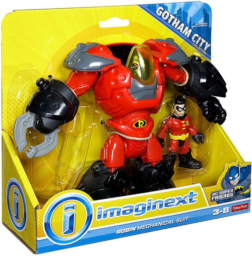 Fisher Price DC Super Friends Imaginext Robin Mechanical Suit Exclusive 3-Inch Figure Set