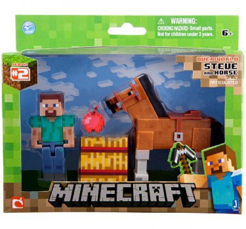 Minecraft Series 2 Steve & Brown Horse Exclusive Action Figure 2-Pack [Overworld]