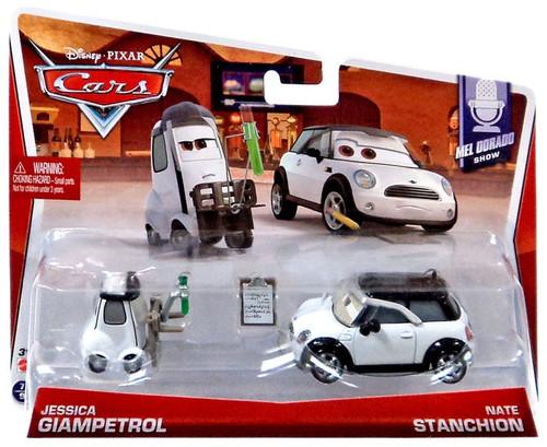 Disney / Pixar Cars Mainline Jessica Giampetrol & Nate Stanchion Diecast Car 2-Pack #7/9 & 8/9