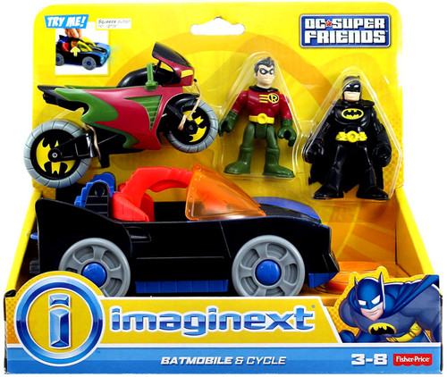 Fisher Price DC Super Friends Imaginext Batmobile & Cycle 3-Inch Figure Set [With Batman and Robin!]