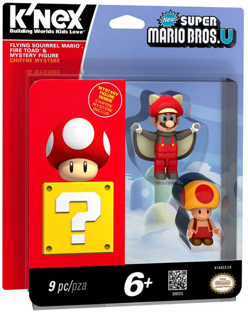 K'NEX New Super Mario Bros U Flying Squirrel Mario, Fire Toad & Mystery Figure 3-Pack