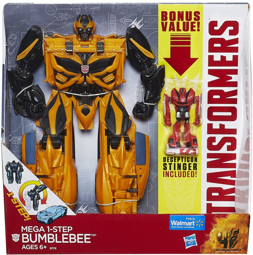 "Transformers Age of Extinction Mega 1-Step Bumblebee Exclusive 10"" Action Figure [Bonus Decepticon Stinger]"