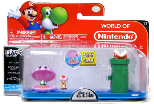 World of Nintendo New Super Mario Bros U Micro Land Playset Red Toad & Sparkling Water Playset