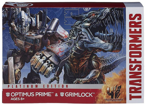 Transformers Age of Extinction Platinum Edition Optimus Prime & Grimlock Voyager Action Figure 2-Pack