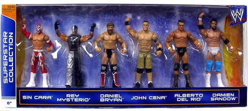 WWE Wrestling Sin Cara, Mysterio, Bryan, Cena, Del Rio & Sandow Exclusive Action Figure 6-Pack