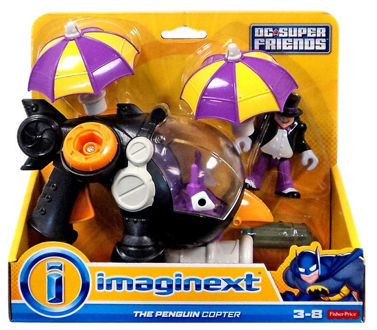 Fisher Price DC Super Friends Imaginext The Penguin Copter 3-Inch Figure Set